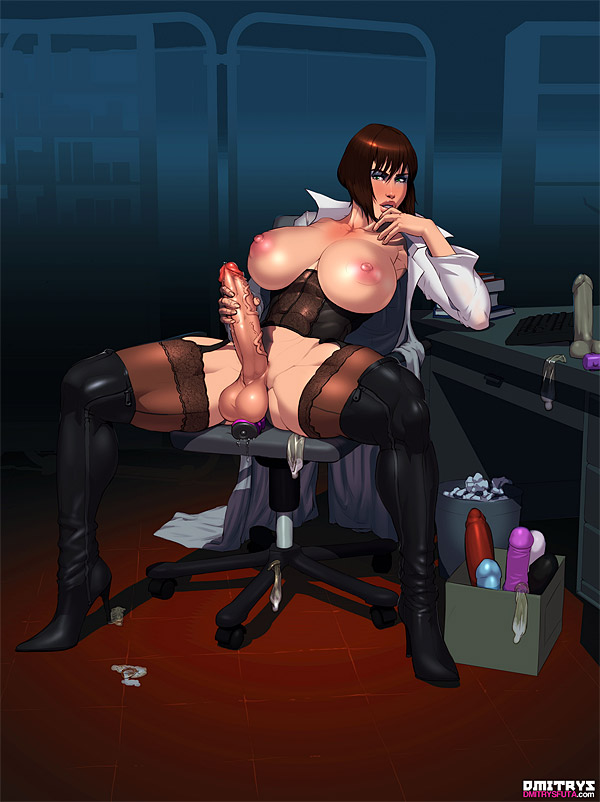 abs anal_juice anal_sex areola blush breasts brown_hair chair coat condom corset cum desk dildo dmitrys futa_solo futanari garter_belt heavy_blush high_heels huge_areola lab_coat large_areolae large_breasts large_penis large_testicles lips looking_at_viewer masturbation muscle nipples open_clothes penis precum puffy_areola see-through sex_toys short_hair sitting spread_legs teeth testicles thick_lips thick_thighs thighhigh_boots thighs used_condoms veiny_penis voluptuous