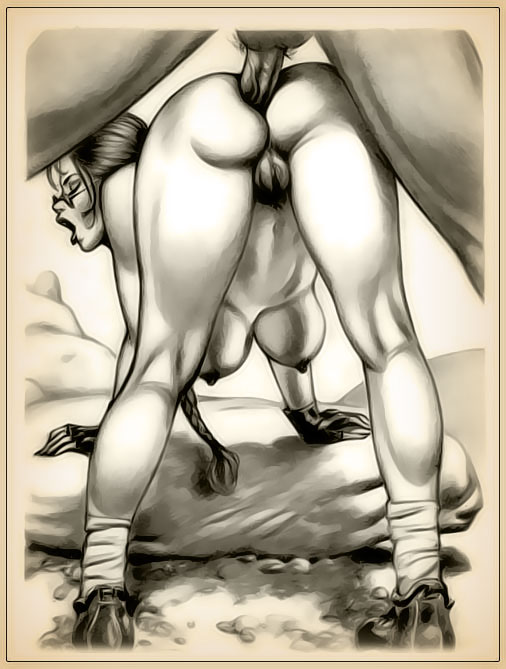 anal doggy_style female human julius_zimmerman lara_croft male monochrome rock straight tomb_raider zimmerman