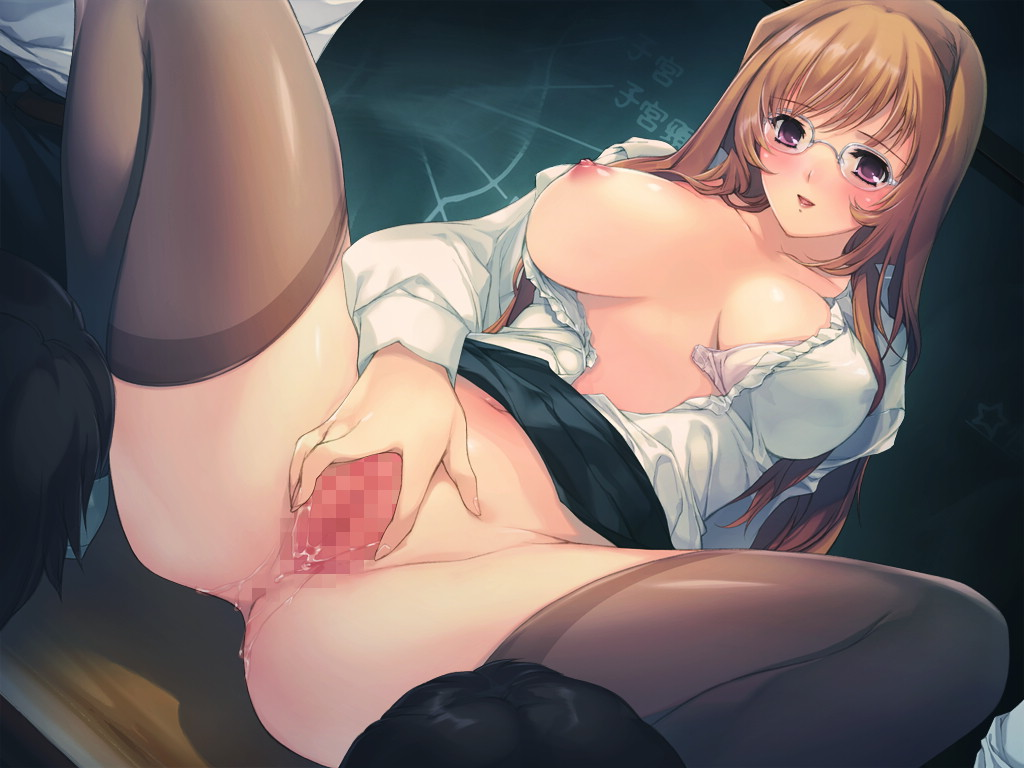 alice_soft anus blush breast_slip breasts censored glasses long_hair min-naraken one_breast_out orange_hair oyako_rankan pink_eyes pussy pussy_juice spread_legs squat squatting teacher thighhighs