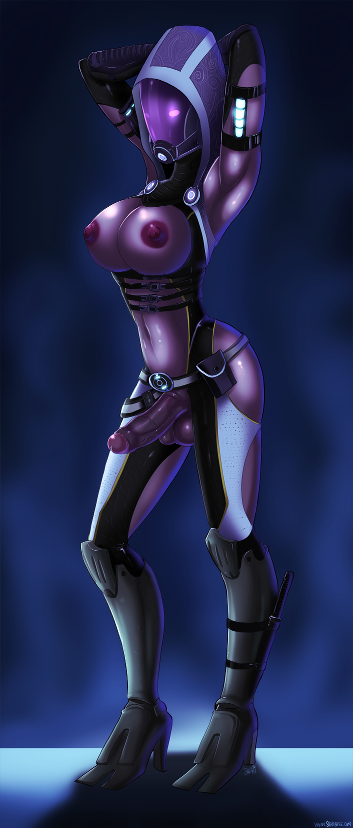 alien balls big_breasts big_penis breasts dickgirl erection female futa futanari mask mass_effect nude penis purple_skin quarian solo suite tali'zorah_nar_rayya testicles therealshadman