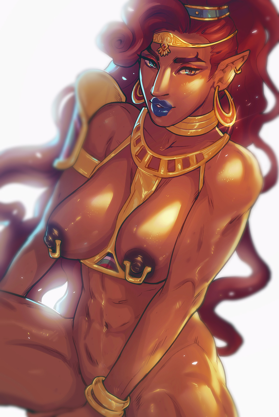 1girl abs asieybarbie belly big_nose bracelet breasts breath_of_the_wild dark-skinned_female dark_skin earrings female female_only gerudo hips jewelry large_breasts legs lipstick long_hair looking_at_viewer makeup muscle muscular_female navel nintendo nipples piercing pointy_ears red_hair solo the_legend_of_zelda thighs tiara toned urbosa very_long_hair