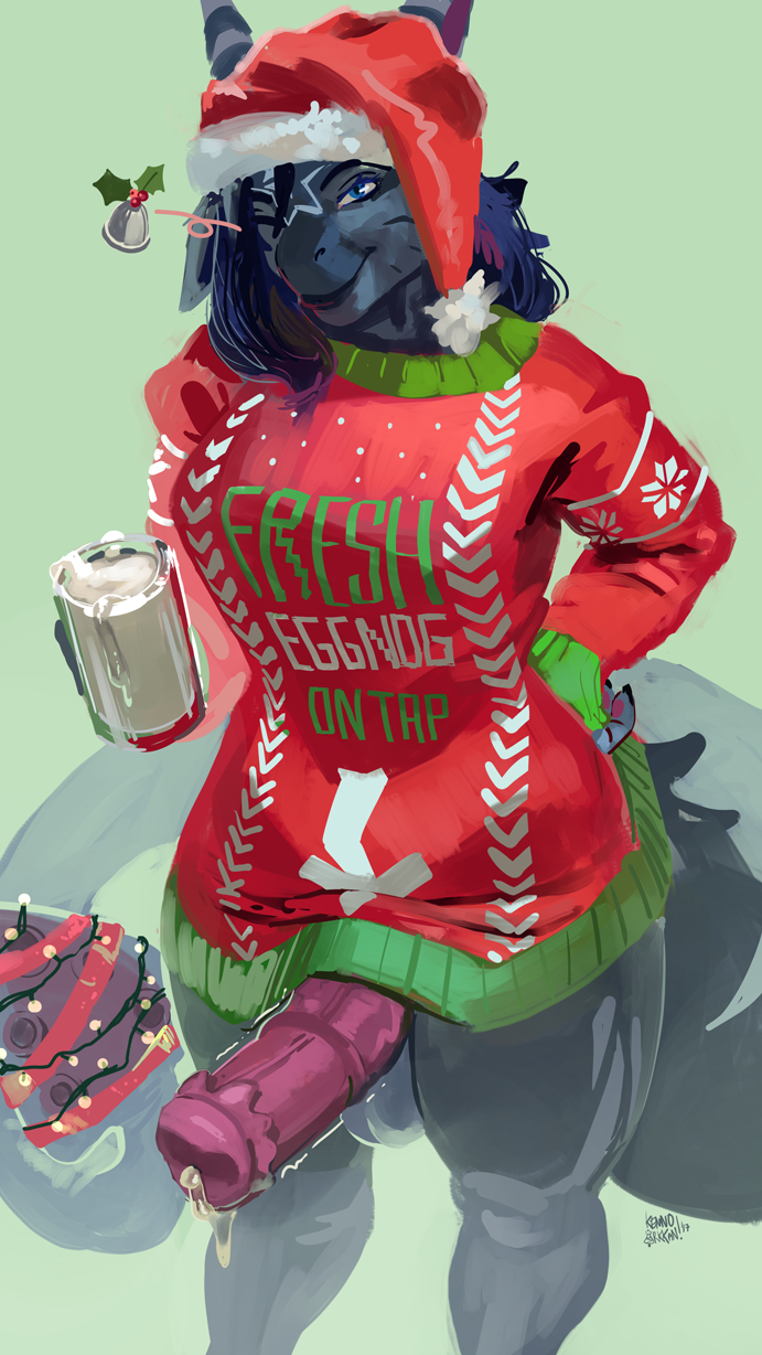 animal_genitalia animal_penis anthro archigram balls barbed_penis blue_hair christmas clothed clothing cum cum_drip cum_in_a_cup dickgirl dragon dripping english_text equine equine_penis erection excessive_cum hair hat holidays hybrid intersex kenno_arkkan looking_at_viewer mammal medial_ring one_eye_closed penis santa_hat smile solo standing sweater text wink zebra