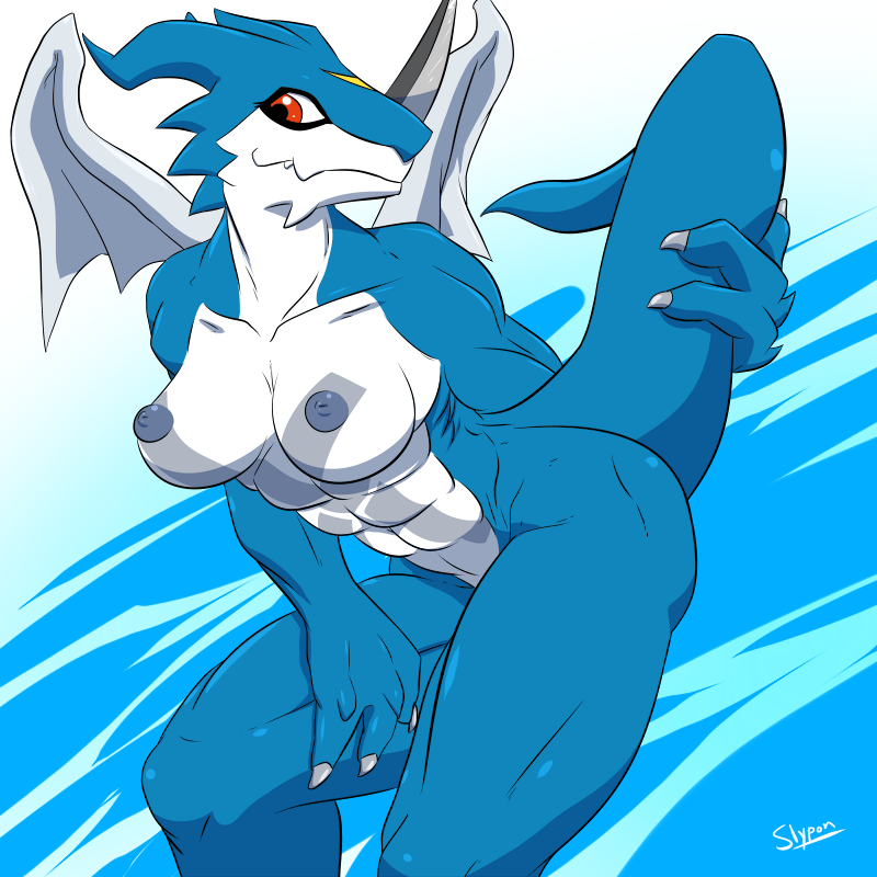 2013 abs biceps breasts digimon exveemon female female_only horn invalid_tag muscles muscular_female navel nipples nude red_eyes slypon smile solo wings