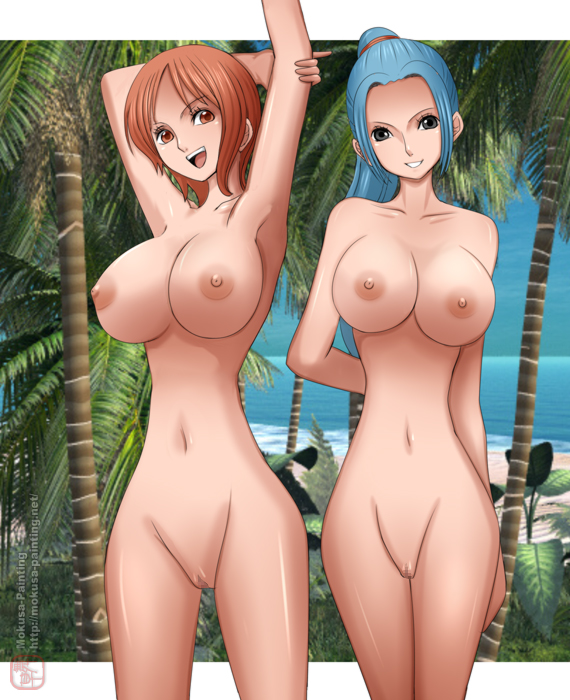 arms_up black_eyess blue_hair breasts censored large_breasts long_hair looking_at_viewer mokusa multiple_girls nami navel nefertari_vivi nipples nude one_piece open_mouth orange_hair ponytail pussy red_eyess short_hair smile standing vivi