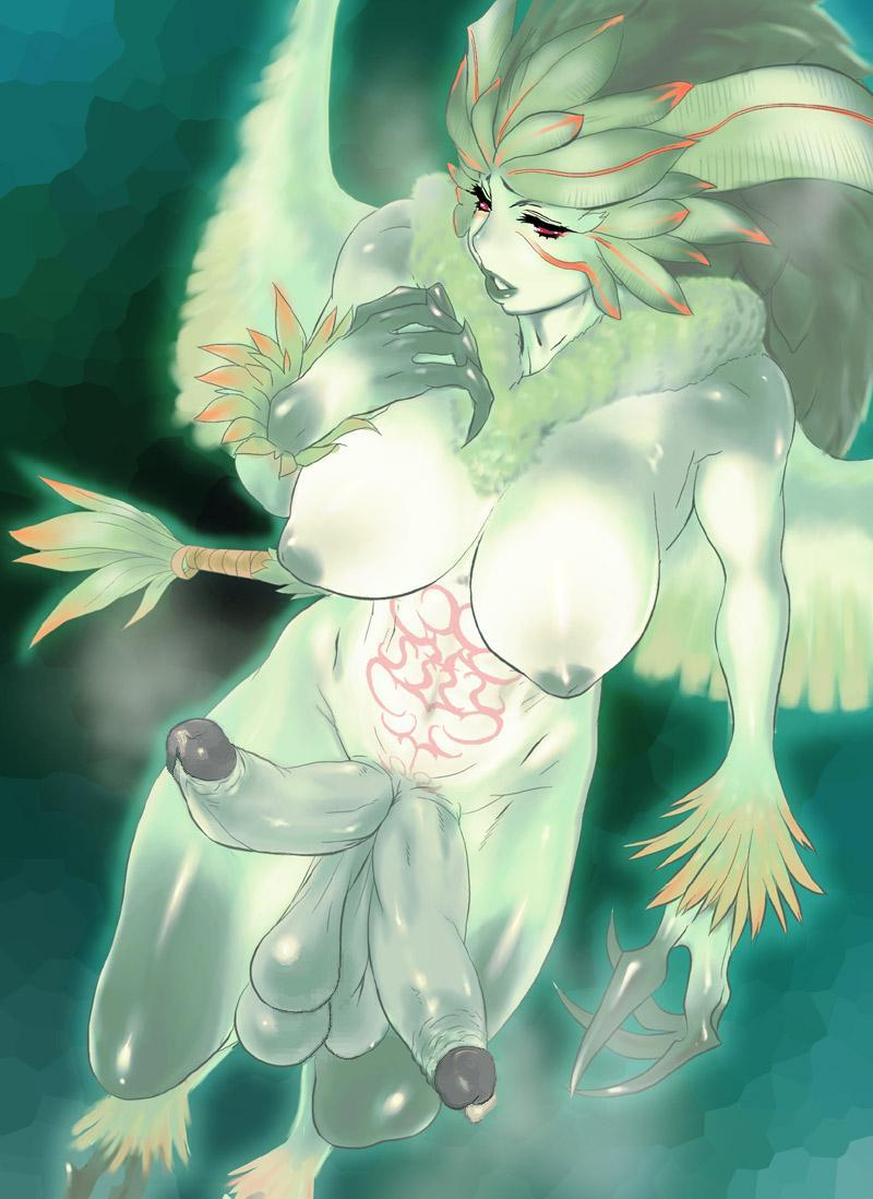dagashiya extra_penises final_fantasy final_fantasy_xi futanari garuda green_skin inverted_nipples large_breasts large_penis monster_girl multiple_penises nipples penis solo uncensored