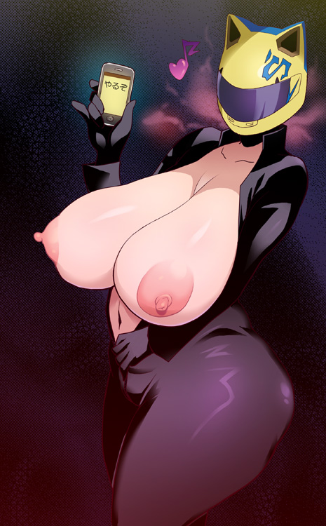 apple_inc. ass breasts celty_sturluson durarara!! helmet huge_breasts iphone motorcycle_helmet phone plump tetrodotoxin thick_thighs unzipped