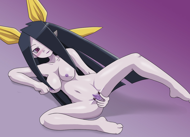 barefoot black_hair blush breasts dainama dinosaur_king female hair_over_one_eye long_hair looking_down mihasa nipples nude pointy_ears purple_eyes pussy sheer_(dinosaur_king) smile solo spread_pussy uncensored
