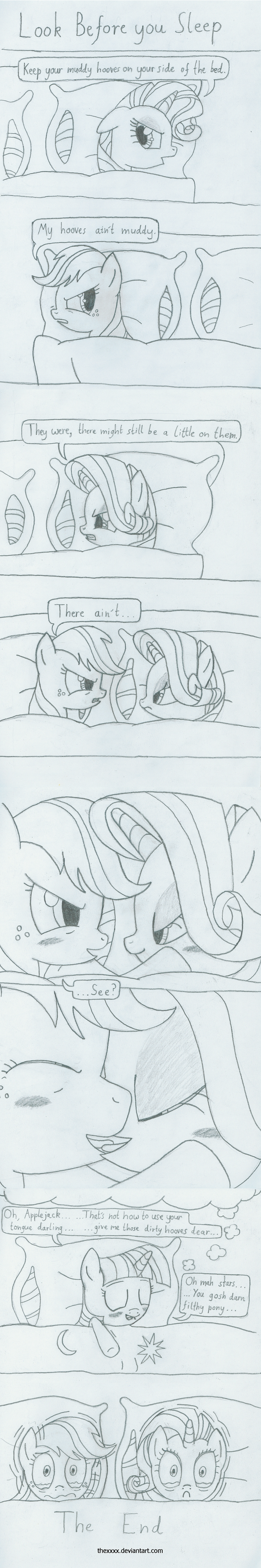 applejack_(mlp) bed black_and_white blanket blush comic crying dream equine female friendship_is_magic horns horse monochrome my_little_pony pillow pony rarity_(mlp) text the_xxx twilight_sparkle_(mlp) unicorn yuri