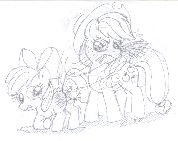 applebloom_(mlp) applejack_(mlp) bow cowboy_hat equine female friendship_is_magic hasbro hat hay my_little_pony spanking