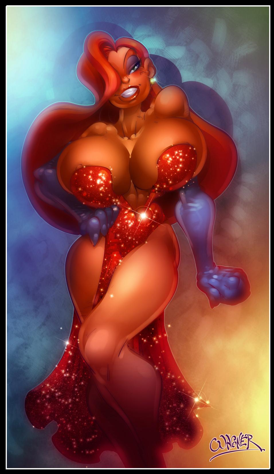 areola_slip areolae breasts bursting_breasts dark_skin erect_nipples huge_breasts jessica_rabbit long_gloves nipples red_hair wagner who_framed_roger_rabbit