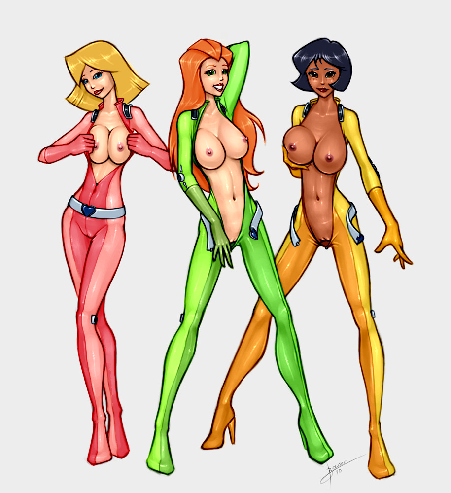 2010 3girls alex_(totally_spies) areola blonde_hair blue_eyes blush breast_fondling breast_grab breast_squeeze breasts bushido clover_(totally_spies) dark-skinned_female erect_nipples green_eyes high_heel_boots high_heels nipples open_clothes pussy red_hair sam_(totally_spies) totally_spies