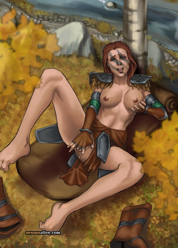 aela_the_huntress armor barefeet breasts fingering gloves half-dressed masturbation nature nesoun nord open_mouth outside pussy red_hair river skyrim sweat the_elder_scrolls tree unconvincing_armor