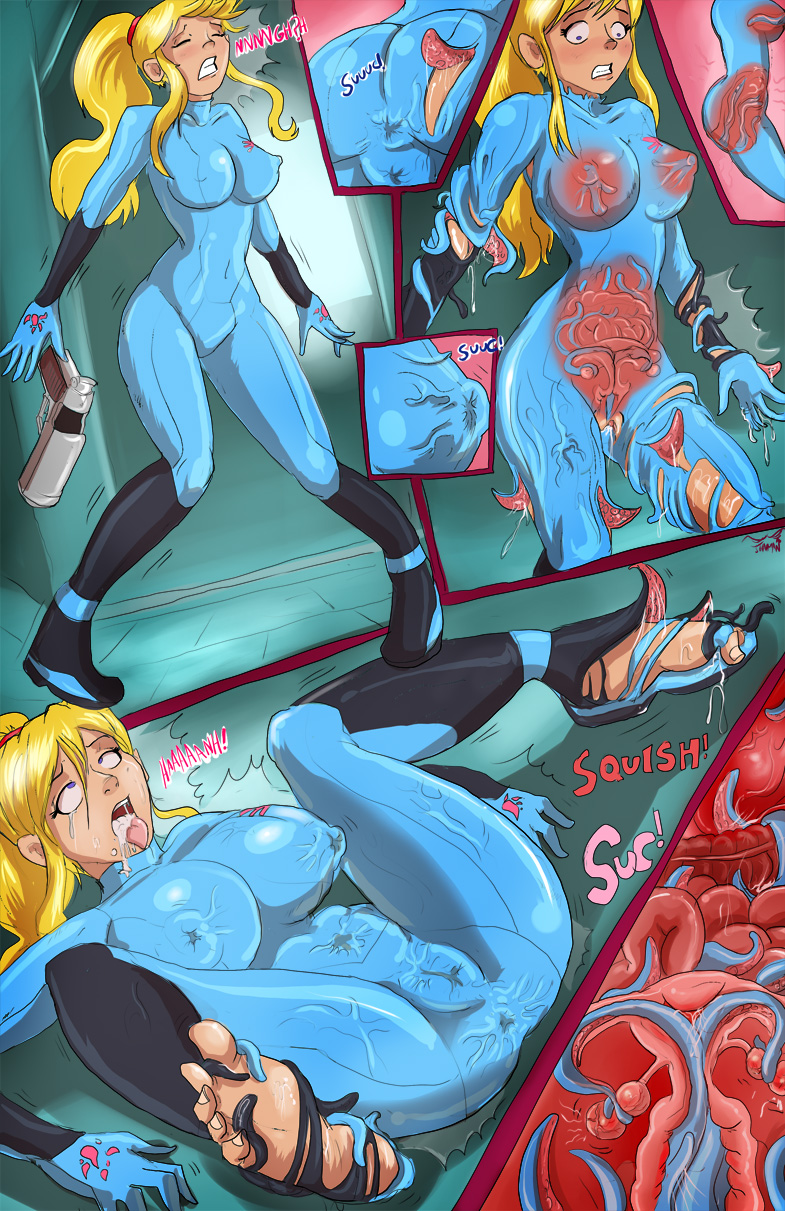 1girl biosuit living_clothes metroid nipple_penetration samus_aran solo therealshadman x-ray