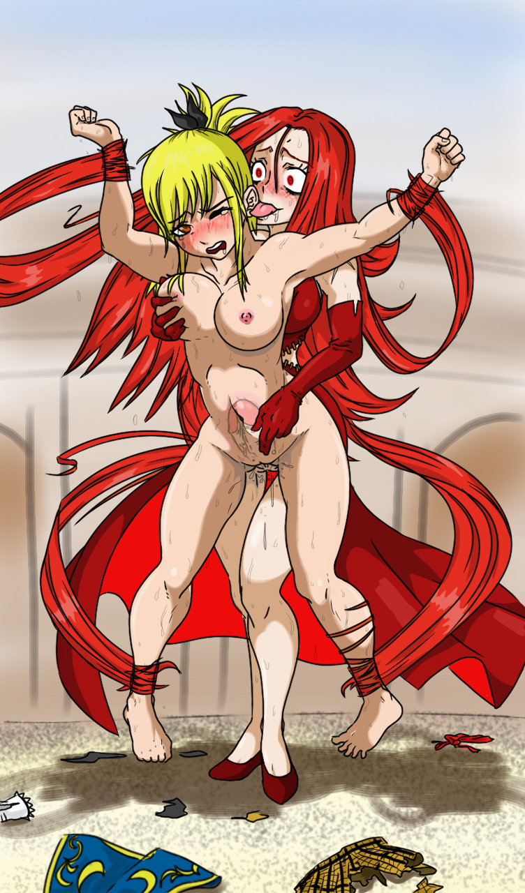 ahgot artist_request barefeet big_breast blonde_hair blush breasts crazy_eyes ear_licking fairy_tail flare_corona from_behind futa_with_female futanari groping hair highres legs licking lucy_heartfilia naked nude rape red_hair restrained sex stripped sweat tear tentacle transparent x-ray