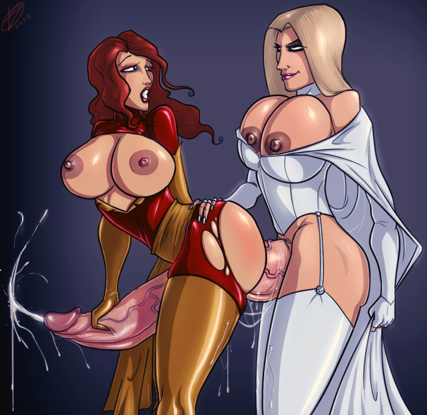 dark_phoenix devil_hs emma_frost futa_on_futa futanari jean_grey marvel phoenix white_queen x-men