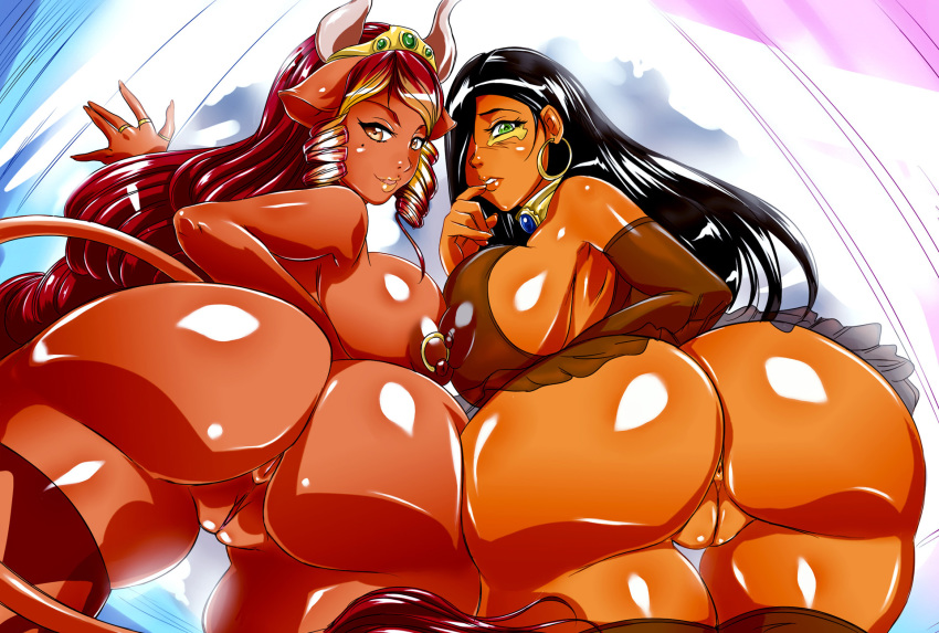 anus areola ass beauty_mark big_breasts big_butt black_hair bovine breasts brown_eyes corruption_of_champions crossover dat_ass ear_piercing erect_nipples excellia_(corruption_of_champions) farah female green_eyes hair horn huge_breasts huge_butt human legend_of_queen_queen_opala long_hair looking_at_viewer looking_back minotaur nipple_piercing nipples nude piercing pussy red_hair smile