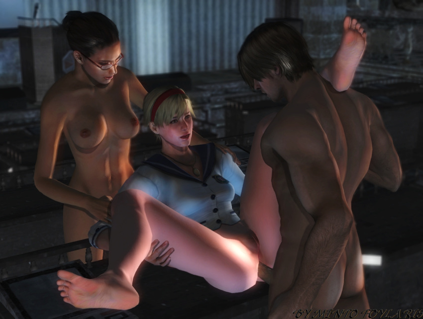 anal ass bottomless breasts erect_nipples erection hairless_pussy ingrid_hunnigan leon_s_kennedy mintofoularis mod naked nipples penis pussy resident_evil sherry_birkin spread_legs