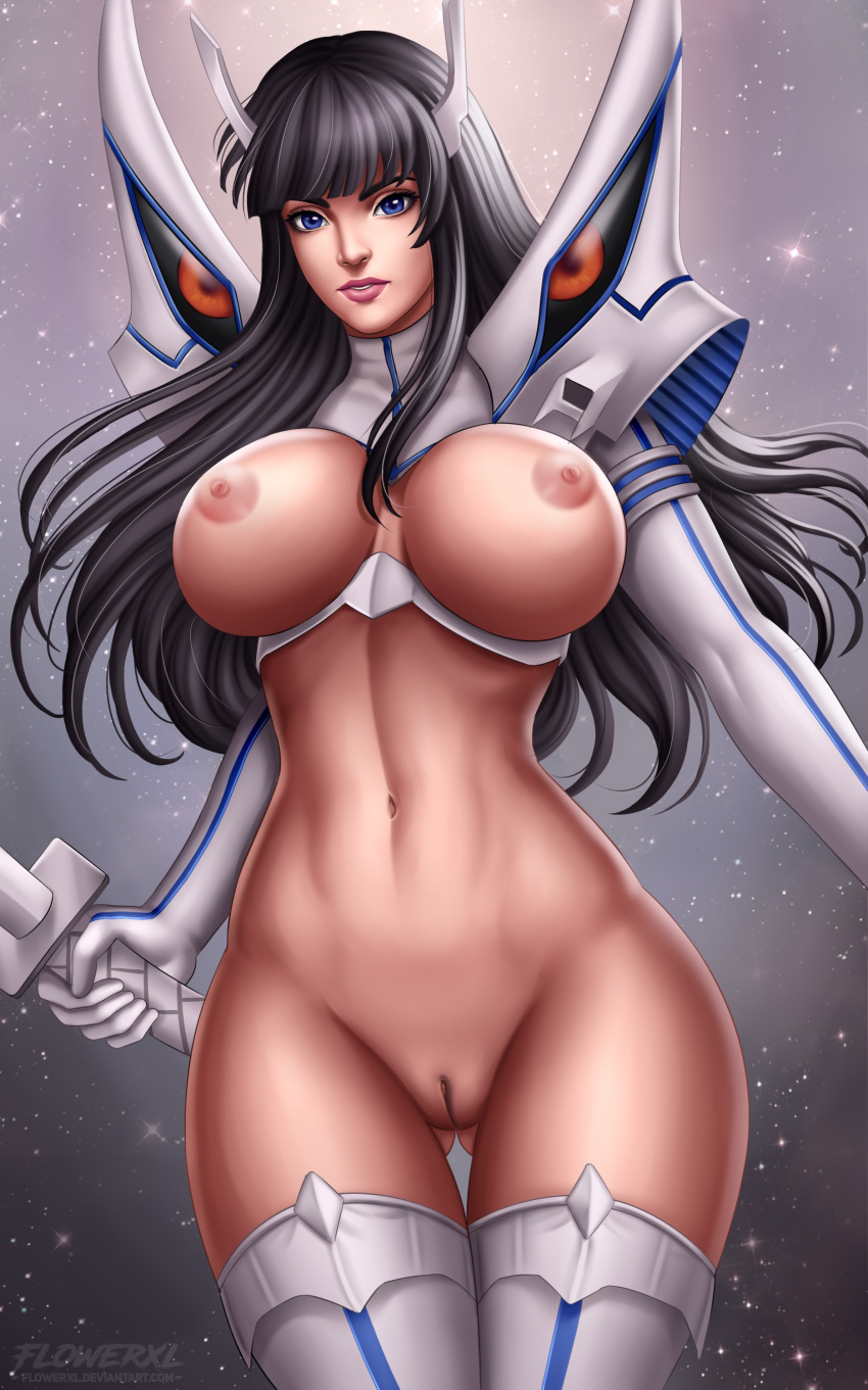 areolae big_breasts breasts female female_only flowerxl kill_la_kill kiryuuin_satsuki large_breasts looking_at_viewer nipples pussy solo thighhighs