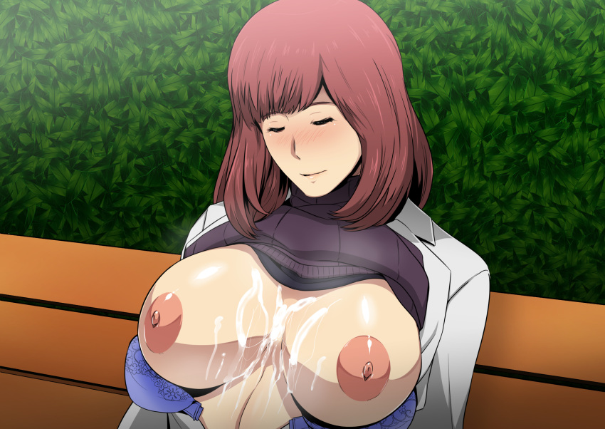 after_paizuri areolae bench blush bra bra_pull breasts breasts_outside brown_hair closed_eyes closed_mouth cum cum_on_breasts drunk female grass gureko_rouman highres large_areolae large_breasts nipples open_bra open_clothes original outdoors purple_bra shiny shiny_skin short_hair sitting sleeping solo sweater sweater_lift turtleneck turtleneck_sweater upper_body