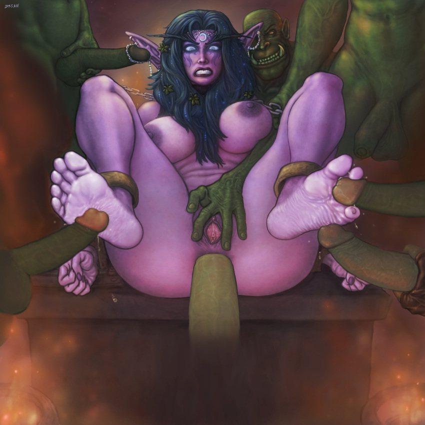 34-san between_toes chains cum_on_soles elf feet female footbang gangbang high_resolution orc rape sex soles tyrande_whisperwind world_of_warcraft