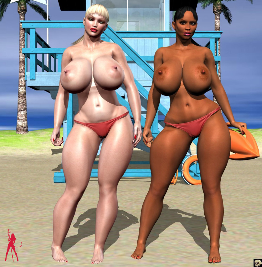 2girls 3d bare_shoulders barefoot beach big_breasts bikini bikini_bottom black_eyes black_hair blonde_hair busty cleavage curvy dark-skinned_female dark_skin detailed_background duo erect_nipple erect_nipples female female_only front_view glasses gray_eyes half-dressed half_dressed hourglass_figure human lifeguard_(xskullheadx) lipstick long_hair looking_at_viewer makeup multiple_females multiple_girls nail_polish no_bra outdoor outside ponytail pose posing red_lipstick sand shadow spread_legs spreading standing swimsuit tied_hair tree voluptuous water wide_hips xskullheadx yellow_hair