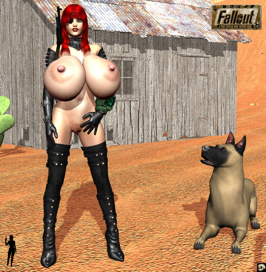 1girl 3d ambiguous_gender areolae bare_shoulders belly bethesda big_breasts black_fur black_gloves brown_fur canine cleavage curvy detailed_background elbow_gloves erect_nipple erect_nipples eyelashes eyepatch fallout female front_view furry gloves gray_eyes hairy_pussy half-dressed hand_on_hip hands_on_hip hands_on_hips high_heel_boots high_heels hourglass_figure huge_breasts human katt_(xskullheadx) latex leotard lipstick long_hair looking_at_viewer makeup naked navel nipples no_bra nude outdoor outdoors outside paws pose posing pubes pubic_hair red_hair red_lipstick rifle shadow sitting solo spikes spread_legs spreading standing text thighhighs topless video_game video_games voluptuous watermark weapon wide_hips xskullheadx
