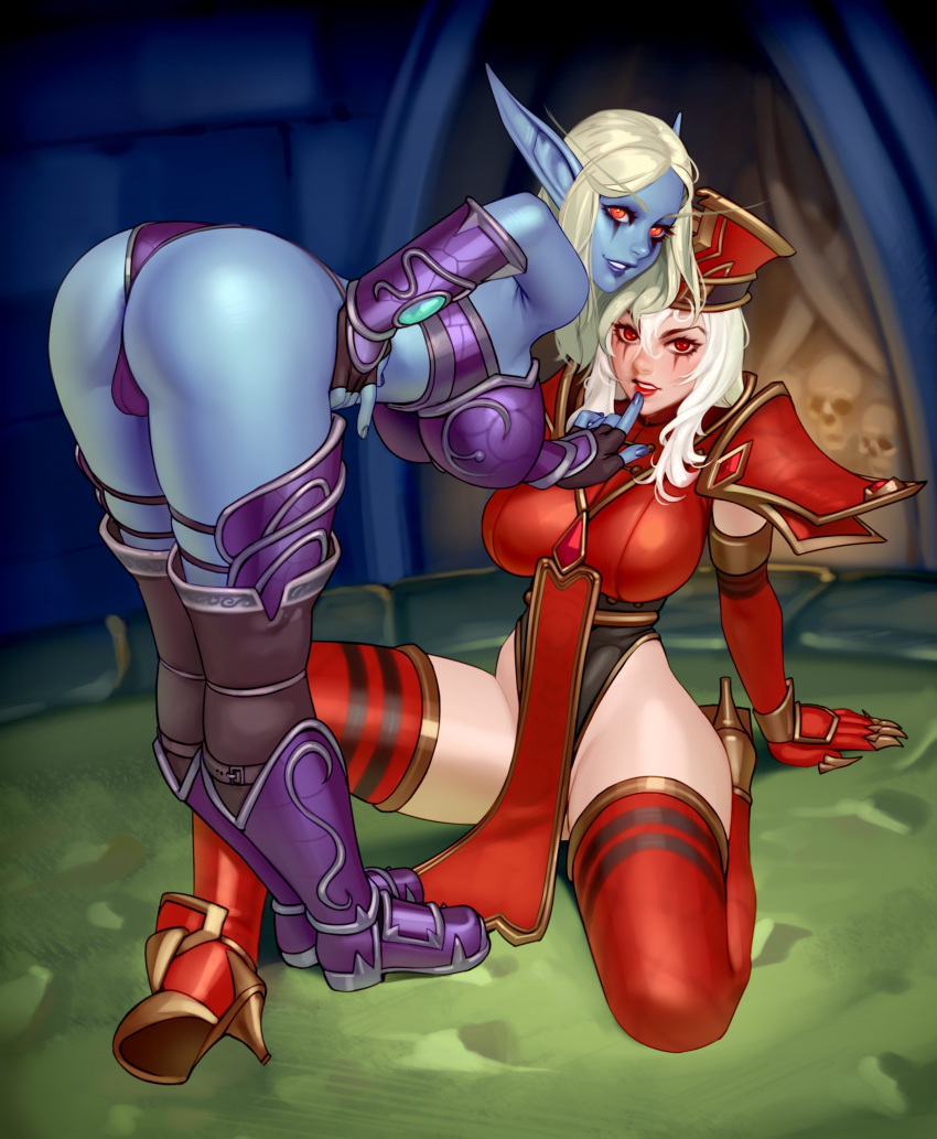 armor ass bent_over blizzard_entertainment blonde_hair blue_skin boots breasts bulge clothed female female_only finger_to_mouth hat highres huge_breasts kairuhentai leotard littlemedecine looking_at_viewer mascara pointy_ears red_eyes sally_whitemane sitting sylvanas_windrunner thighhighs warcraft white_hair world_of_warcraft