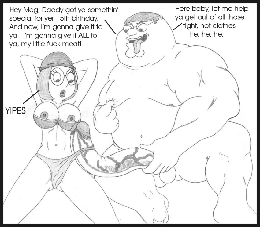 Family Guy Porn Pencil Art - family_guy father_and_daughter hair huge_cock human imminent_rape incest  meg_griffin monochrome penis peter_griffin sbb