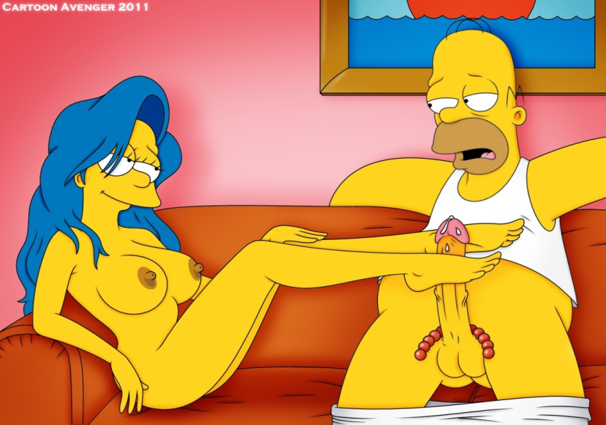 blue_hair cartoon_avenger color female footjob hair hetero homer_simpson human indoors long_hair male marge_simpson nudity skin the_simpsons yellow_skin
