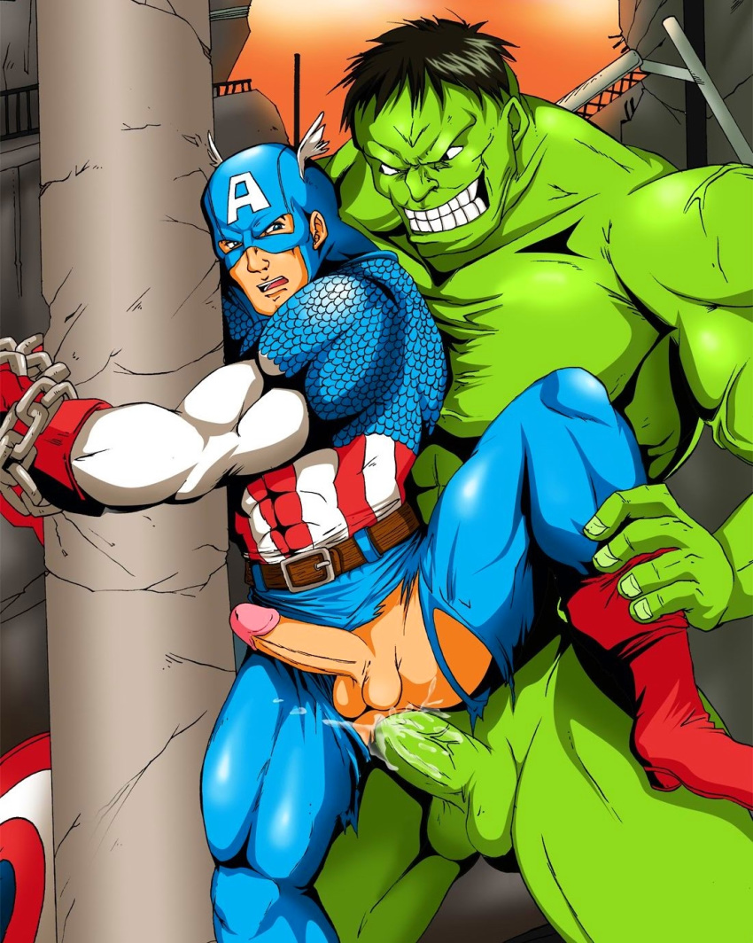 2boys abs anal anal_penetration artist_request avengers belt biceps black_hair blue_eyes bondage boots bound_wrists bruce_banner captain_america cum cum_in_ass cum_inside doggy_style erection green_skin hulk leg_grab male male_only maledom malesub marvel mask multiple_boys multiple_males multiple_penises muscles nude pecs penis sex spread_legs steve_rogers tagme testicles torn_clothes uncensored yaoi