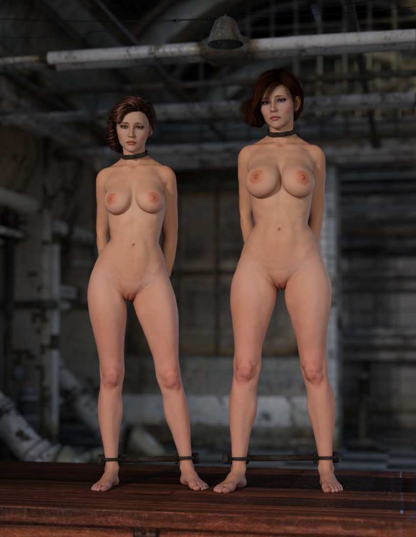Rule 34 - 2Girls 3D Arms Behind Back Auction Barefoot Bondage Breasts Collar Crabbyoldman Female -7098