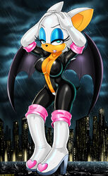 2014 anthro bat blue_eyes breasts cleavage clothed clothes female large_breasts looking_at_viewer navel pubes rouge_the_bat rubber sega shadman solo sonic_(series) white_hair wings rating:Explicit score:43 user:bot