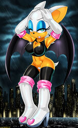 2014 anthro bat blue_eyes breasts female large_breasts looking_at_viewer navel nipples pubes rouge_the_bat rubber sega shadman solo sonic_(series) white_hair wings rating:Explicit score:28 user:bot