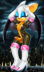 2014 anthro areolae balls bat blue_eyes breasts cleavage clothed clothes dickgirl erection futanari intersex inverted_nipples large_breasts looking_at_viewer navel nipples penis pubes rouge_the_bat rubber see-through sega shadman sheer solo sonic_(series) uncut white_hair wings rating:Explicit score:46 user:bot