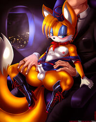 aircraft airplane anthro balls blue_eyes blush canine crossdressing duo erection fox furry_tail girly human interspecies male mammal multiple_tails nipples penis sega shadman solo_focus sonic_(series) stewardess tail tails thecon uncut uniform rating:Explicit score:54 user:bot