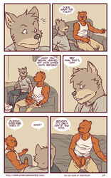 anthro artdecade bear canine comic english_text erection fur grizzly_bear male mammal masturbation penis text uncut what wolf yaoi rating:Explicit score:2 user:bot