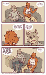 anthro artdecade bear big_muscles canine comic english_text grizzly_bear male mammal masturbation muscles penis text uncut what wolf yaoi rating:Explicit score:2 user:bot