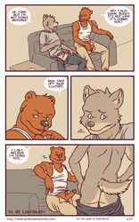 anthro artdecade ass back bear big_muscles canine clothed clothing comic duo english_text erection grizzly_bear male mammal masturbation muscles pants pants_down penis rear_view sitting sofa standing text uncut undressing what wolf yaoi rating:Explicit score:5 user:bot