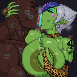 cheating choker cuckold dark_skinned_male earrings eyeshadow female green_skin huge_breasts kiss_mark kissing lipstick lipstick_mark looking_at_viewer male middle_finger muscles muscular netorare nipple_ring nose_ring ntr orc orc_female piercings pov queen_of_spades rampage0118 saliva short_hair tattoo vem rating:Explicit score:47 user:Froggylish