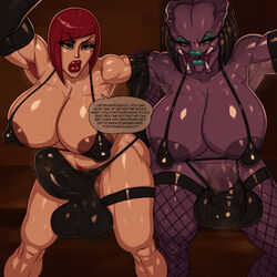 2girls alien alien_girl areola areola_slip areolae armpit_hair arms_up balls balls_in_panties bare_shoulders beauty_mark biceps big_breasts big_penis black_gloves black_hair blue_eyes blue_lipstick bob_cut breasts bulge busty carmen_hardon_(rampage0118) curvy detailed_background elbow_gloves erect_nipple erect_nipples erection erection_under_clothes eyeshadow fishnet fishnet_legwear front_view futanari g-string gigantic_breasts ginger gloves hairy huge_balls huge_breasts huge_cock huge_penis human indoor inside intersex intersex/intersex interspecies large_breasts latex legwear lips lipstick looking_at_viewer makeup mole mole_under_eye multiple_females multiple_girls muscular nipples nose open_mouth orange_eyes penis penis_in_panties penis_under_clothes pov predator predator_(franchise) pubes pubic_hair purple_skin rampage0118 red_hair red_lipstick redhead shiny shiny_skin standing steamy stimia_(rampage0118) sweat taker_pov talking_to_viewer teeth testicles text thick thick_thighs thigh_highs thong voluptuous yautja rating:Explicit score:125 user:Froggylish