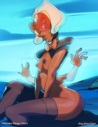 asieybarbie breasts brown_skin female female_only four_arms four_eyes looking_at_viewer multiple_arms multiple_eyes nipples sardonyx_(steven_universe) solo steven_universe white_hair  rating:explicit score:19 user:r-998