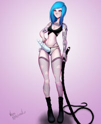 blue_eyes blue_hair breasts cleavage female female_only fishnets long_hair looking_at_viewer solo strap-on tattoo thighhighs voidnosferatu whip rating:Explicit score:98 user:justausername