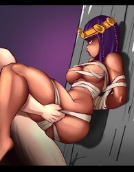 1boy 1girl against_wall bandage breasts dark-skinned_female dark_skin defeated female fight interracial male menat mummy nude penetration purple_hair sex short_hair strangehero street_fighter thick thick_thighs thighs video_games  rating:explicit score:21 user:xakira