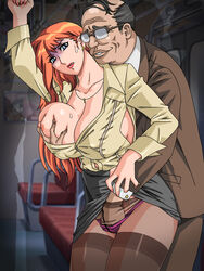 breast_grab breasts from_behind gaden large_breasts orange_hair original pantyhose red_lips skirt_lift rating:Explicit score:11 user:bot