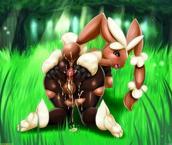 1girl ahe_gao anthro anus areolae ass backsack big_anus big_ass blush breasts bunny_ears bunny_girl bunny_tail cotton cum dickgirl edit erect_nipples fluff forest furry futanari grass intersex lagomorph legwear looking_at_viewer looking_back lopunny mammal mega_evolution mega_lopunny nature nintendo nipples open_mouth outdoors penis pokemon presenting presenting_hindquarters puffy_anus rabbit red_eyes ripped_pantyhose shadman solo spreading stockings tall_grass testicles text thecon tongue_out tree voluptuous wide_hips rating:Explicit score:22 user:bot