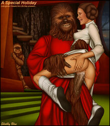 boots carrie_fisher chewbacca furry princess_leia_organa see-through shabby_blue sheer star_wars star_wars_holiday_special vaginal_penetration