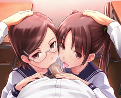1boy 2girls blush brown_eyes brown_hair censored fellatio glasses group_sex hair_ornament hairclip hand_on_head licking long_hair multiple_fellatio multiple_girls oral original penis pov school_uniform serafuku sex shimano_natsume short_hair solo_focus straight teamwork tongue twintails