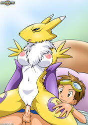 breasts brown_eyes brown_hair children clothed cum cum_in_pussy cum_inside digihentai digimon digimon_tamers digiphilia female_on_top furry nipples penetration penis pussy pussy_juice renamon reverse_cowgirl_position takato_matsuki vaginal_penetration
