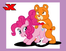bear care_bear care_bears color crossover cutie_mark cyan_eyes ears eyes female flat_color friendship_is_magic from_behind fur furry furry_ears furry_tail hair hetero interspecies jk male my_little_pony open_eyes orange_eyes orange_fur pink_fur pink_hair pinkie_pie_(mlp) pony round_ears sex tail vaginal_penetration