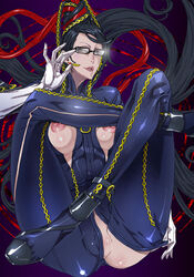 bayonetta bayonetta_(character) black_hair breastless_clothes breasts brown_eyes clothes erect_nipples glasses hair highres large_breasts lips long_hair mole pussy sega uncensored witch zunta